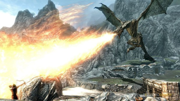 Dragon breathing fire at hold guard
