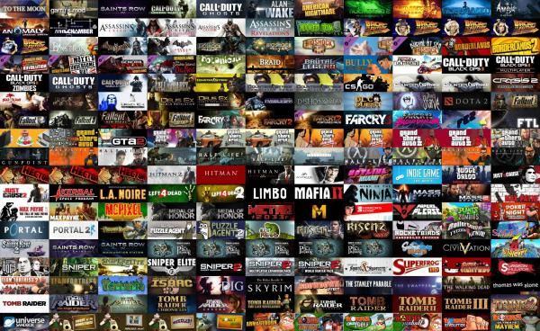 Games from the different companies on Steam