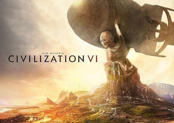 Gandhi holding a nuke in Civilization VI