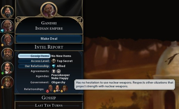 Gandhi into nuking other civilizations in the Civilization game.