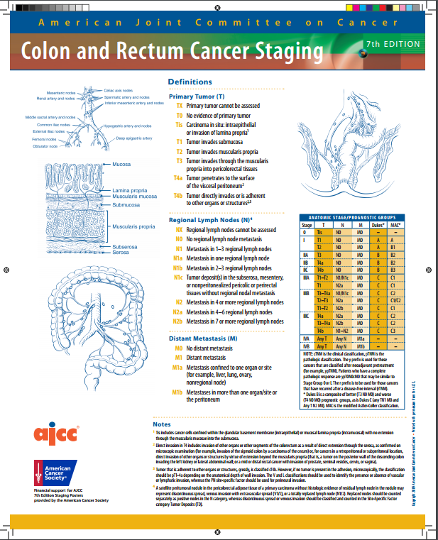 AJCC Colon and Rectum Cancer Staging