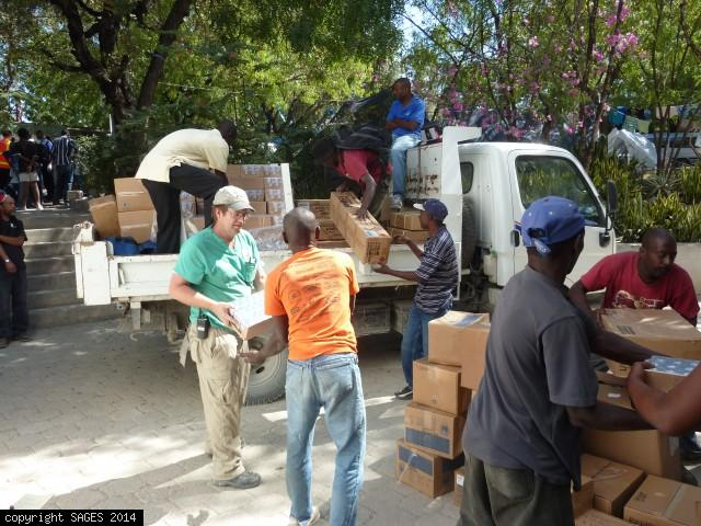 Delivering supplies to Haitian Community Hospital