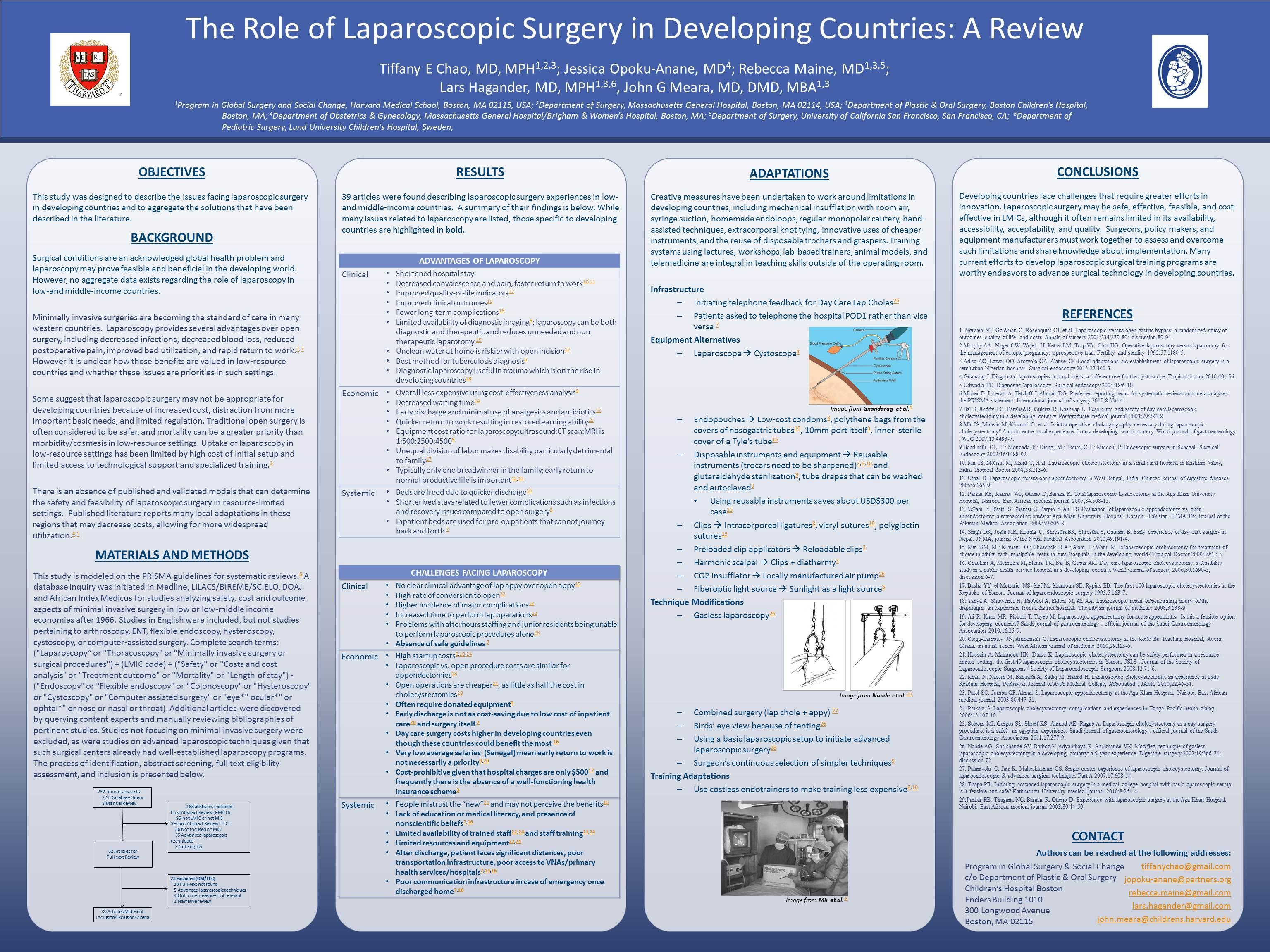 The role of laparoscopic surgery in developing countries: A