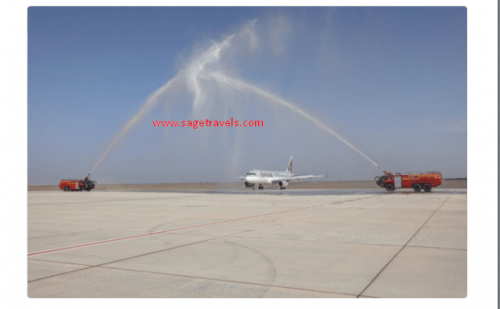 Qatar Airways Welcome New Airbus A320 With A Water Salute At Sohar In Oman