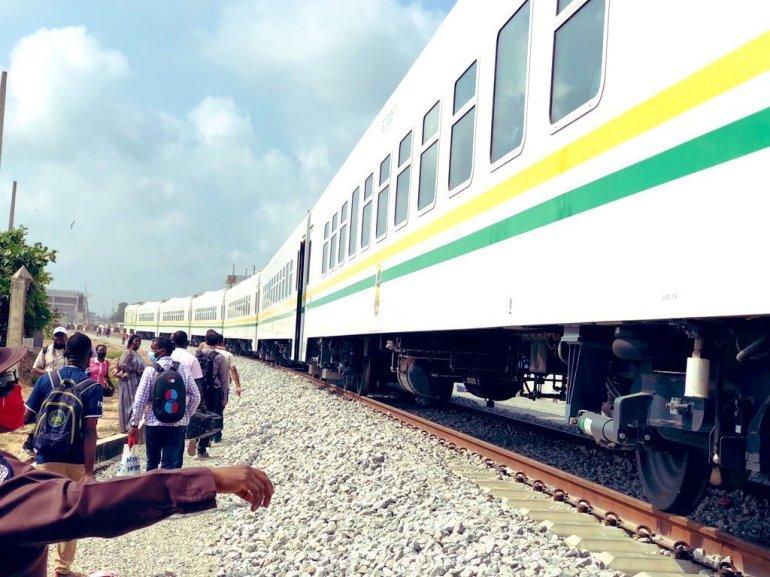 Happy passengers alight from  Lagos - Ibadan Train.