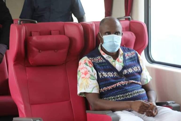 The Nigeria Honorable Minister, Rotimi Amachi of Transportation enjoying the train ride