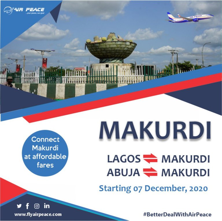 Air Peace Flight To Makurdi, Benue State - Price & Schedule