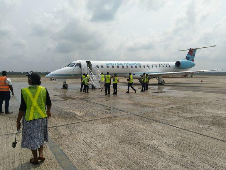 United Nigeria Airline Flight at the airport