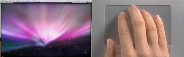 mostra scrivania con mac e osx snow leopard trackpad e tastiere wireless