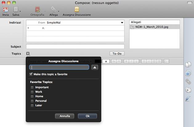 creazione nuova email con postbox