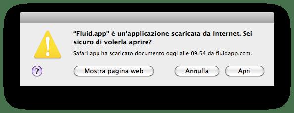 conferma di sicurezza per eseguire i file scaricati da safari nella cartella download