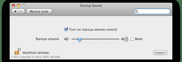 volume suono avvio mac