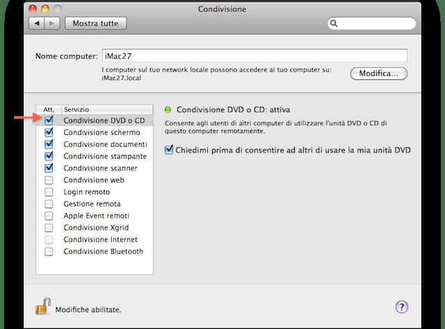 condividi cd e dvd su macbook non air