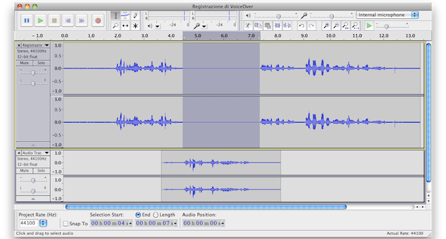 modifica audio imovie