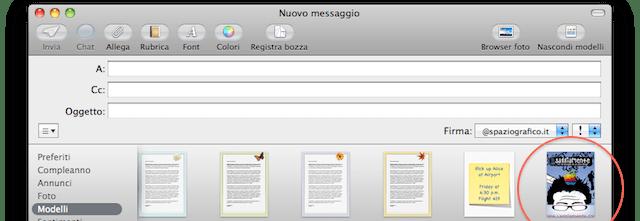 nuovo modello personalizzato apple mail