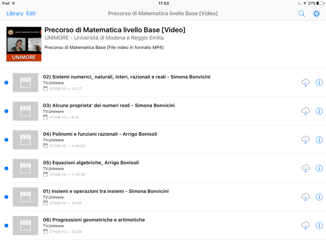 Matematica di Base Unimore iTunes U