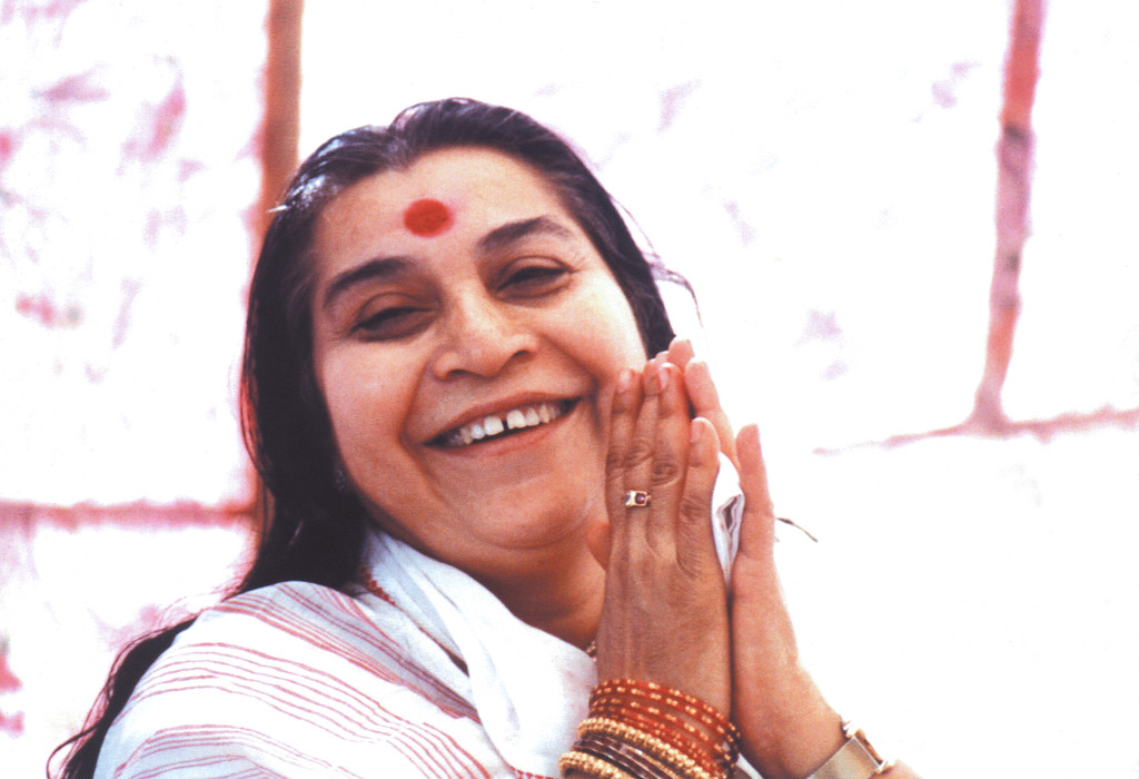 Shri Mataji sat on a park bench | Sahajayoga Reviews