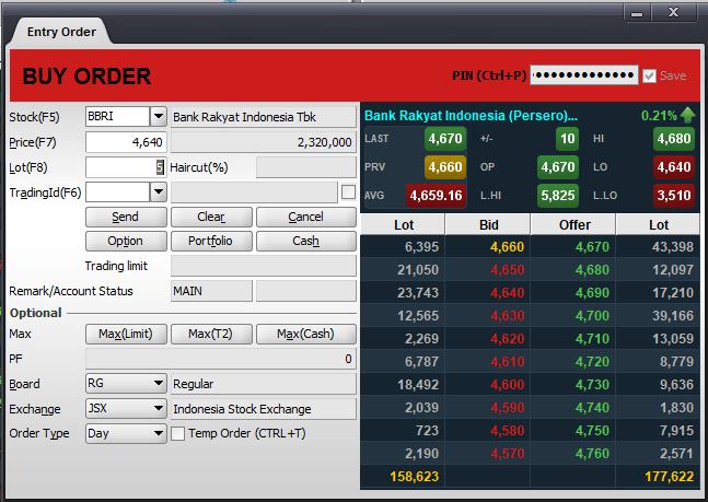 Aplikasi trading saham - Order buy