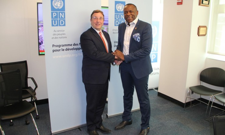 (l-r) Achim Steiner, Administrator - United Nations Development Programme (UNDP), Temitope Shonubi, Executive Director Sahara Group photographed during the signing of Memorandum of Understanding to Promote Sustainable Energy and SDGs in Africa. New York, USA, April 15, 2019