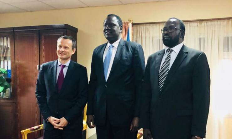 CEO, Sahara Energy International PTE Ltd, Valery Guillebon, South Sudan Minister of Petroleum, Ezekiel Lol Gathkuoth and Undersecretary, Ministry of Petroleum, Mayen Wol Jong following the signing of the $600 million facility provided by Sahara Energy Resources DMCC, Dubai (a member of the Sahara Group) to support ongoing peace process and infrastructure development in South Sudan