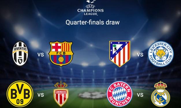 Barcelona vs AS Roma, Liverpool vs Man City, Quarter Final Draw In Full