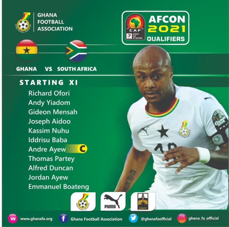 AFCON 2021 Qualifiers: Ghana Black Stars starting lineup against South Africa