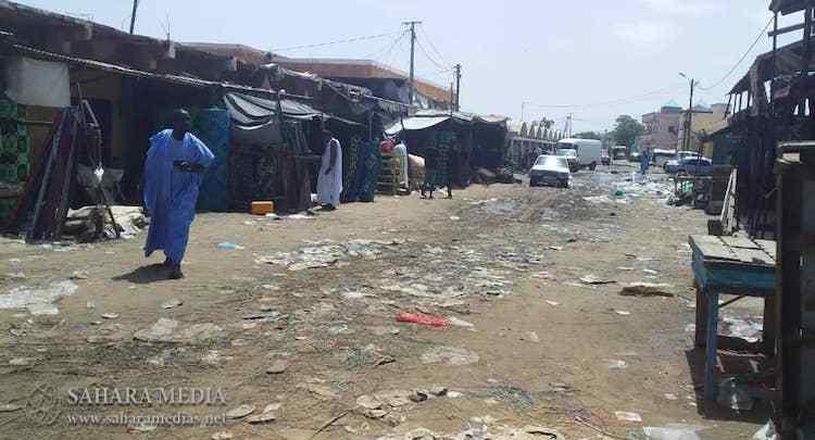 شارع وسط سوق مدينة روصو بالتزامن مع زيارة ولد عبد العزيز (صحراء ميديا)