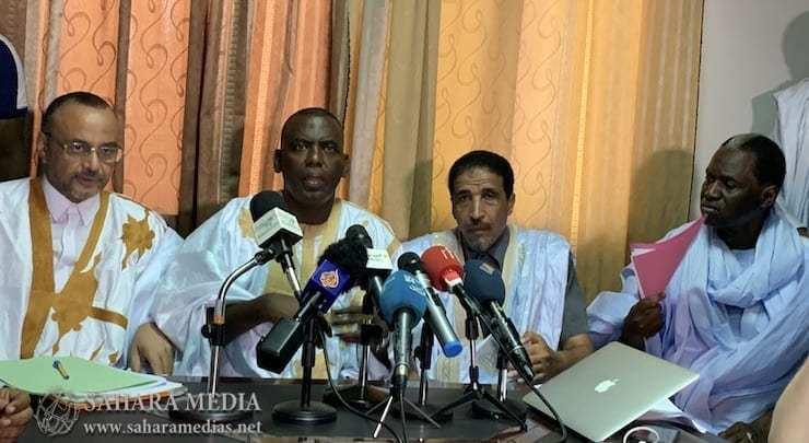 المرشح بيرام ولد الداه اعبيد متحدثاً خلال المؤتمر الصحفي (صحراء ميديا)