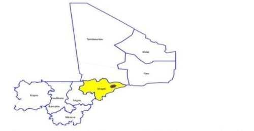 خريطة تظهر موقع انتشار المرض في وسط دولة مالي