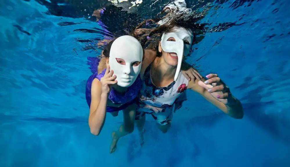 Halloween Masks in Swimming pool