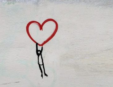 heart drawing on a white wall