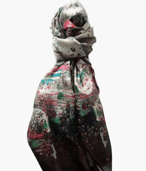 Foulard soie imprimé fleuri - SAHELINE