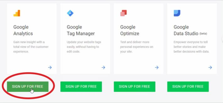 sign up for free - google analytics
