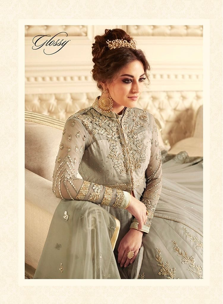 9fe30803cf GLOSSY SAPPHIRA HEAVY EMBROIDERED WORK DESIGNER FLAIR FLOOR TOUCHING  BEAUTIFUL PARTY WEAR TOP WITH EMBROIDERED DUPATTA IN WHOLESALE