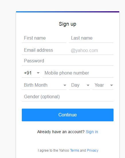 yaahoo mail first sign up page