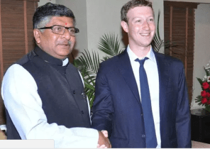 Ravi Shankar Prasad with Mark Zuckerberg