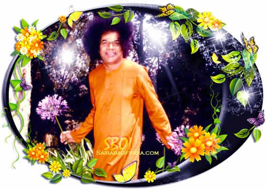 SRI SATHYA SAI BABA HOLDING FLOWERS