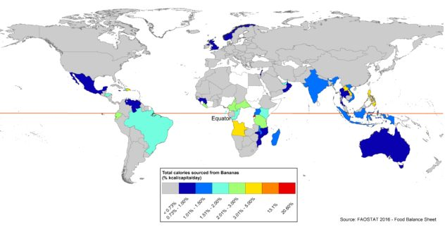 Percent of consumed banana calories of total calories per capita