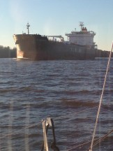 Freighter from Bahamas on the Hudson.