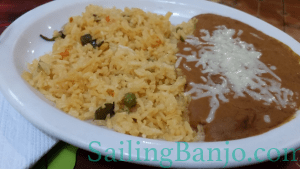 Delicious spanish rice and refried beans