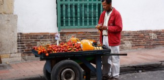 Street Side Tomato Cart in Bogota, Colombia