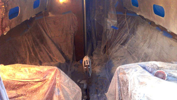 Saloon covered in fiberglass dust