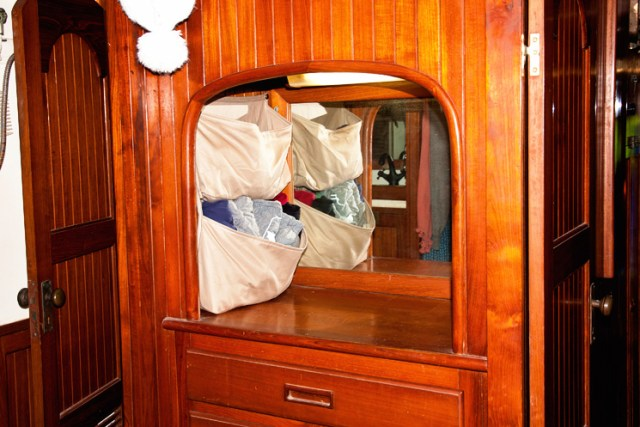 Hanging pockets add additional storage to your sailboat