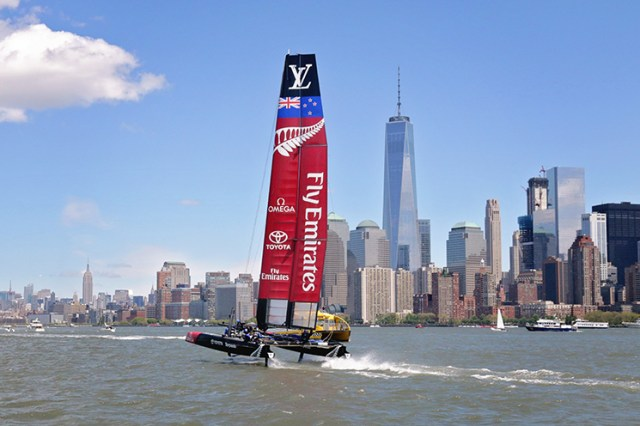 Team Emirates from New Zealand wins the 2016 America's Cup in NYC