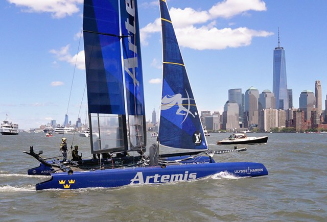 Team Artemis heads towards the race course during the America's Cup in NYC