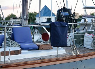 Making a canvas life sling bags adds a lot to the look of your sailboat.
