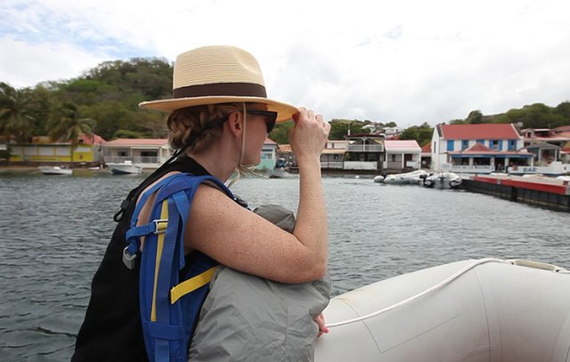 A chin strap keeps your hat in place during a dinghy ride.