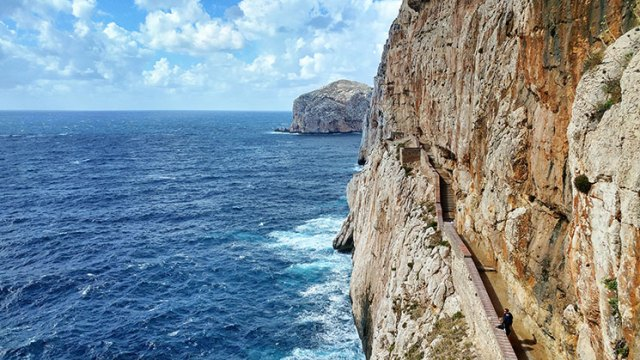 The stairway to Neptune's Grotto in Sardinia