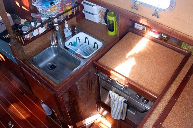 A double sink in a sailboat galley
