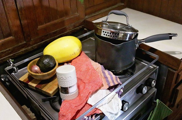 A 2-in-1 salt and pepper shaker and pan with built in colander make great marine galley equipment